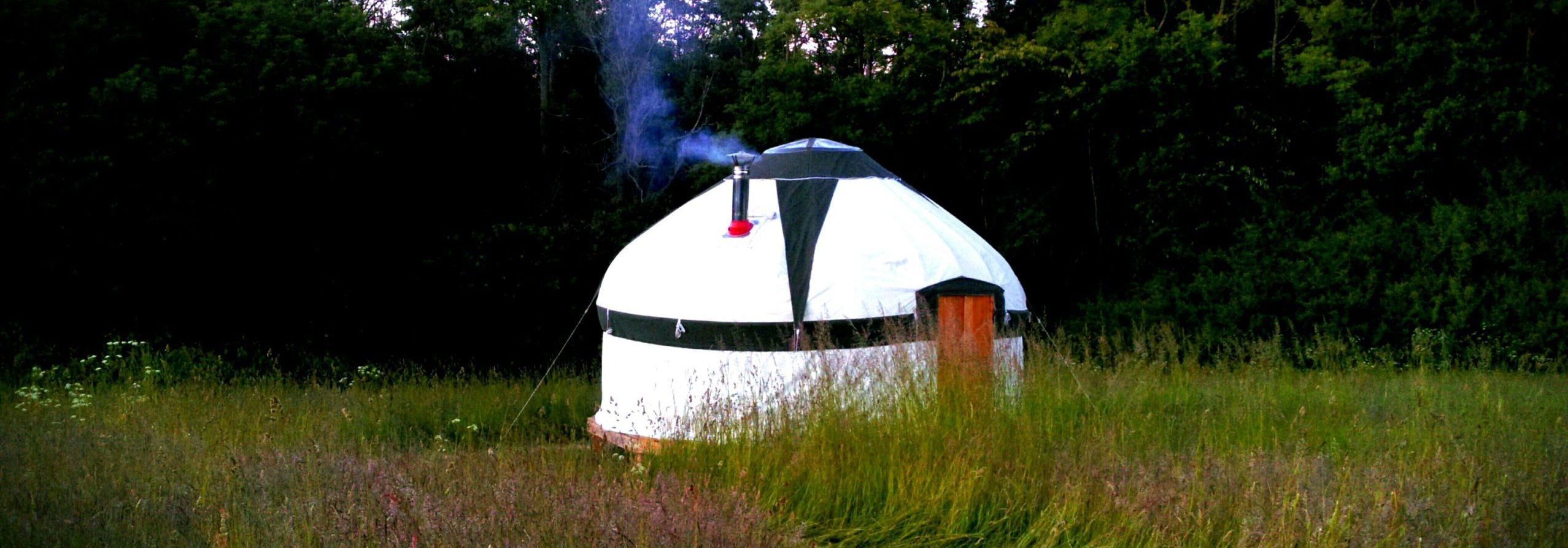 Our yurt nestled in Stavehøls meadow
